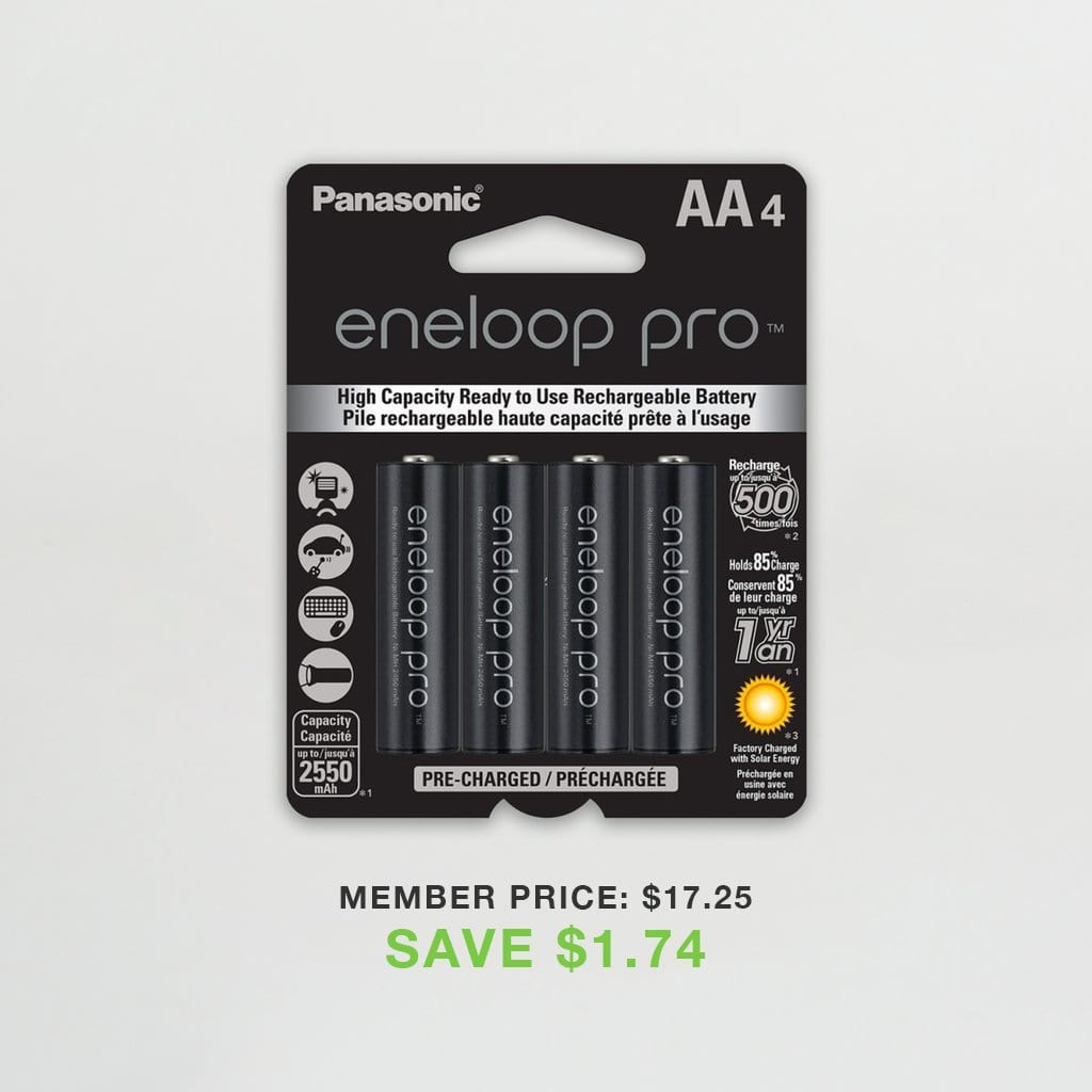Eneloop Pro AA High Capacity Ni-MH Pre-Charged Rechargeable Batteries (Pack of 4)