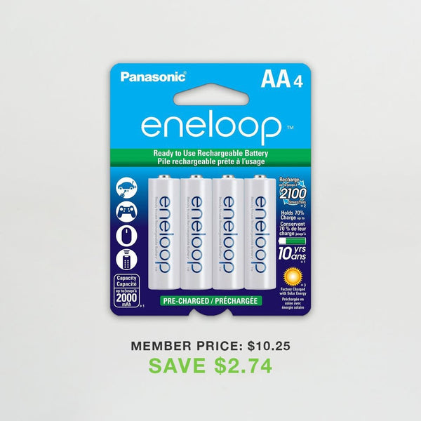 Eneloop AA 2100 Cycle Ni-MH Pre-Charged Rechargeable Batteries (Pack of 4)