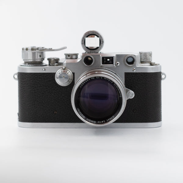 Leica III D.R.P. with Leica Summarit 50mm f/1.5 with SBOOI 5cm Finder and Summarit and mod rewind lever