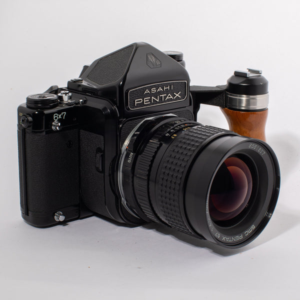 Asahi Pentax 6x7 with SMC Pentax 67 75mm f/4.5 Lens and Wooden Grip and TTL Prism Finder- FRESH CLA
