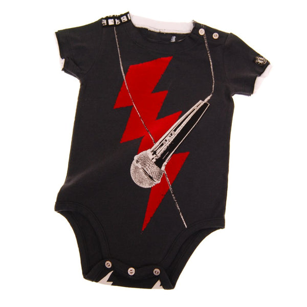 Rock The Mic Short Sleeve Bodysuit by: Mini Shatsu
