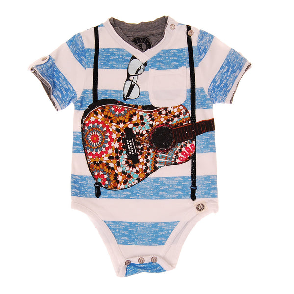 Summer Stripes Suspender Guitar Bodysuit by: Mini Shatsu
