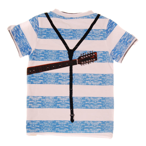 Summer Stripes Suspender Guitar T-Shirt by: Mini Shatsu