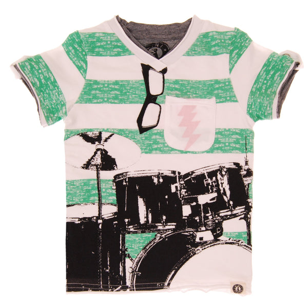 Summer Stripes Drums T-Shirt by: Mini Shatsu