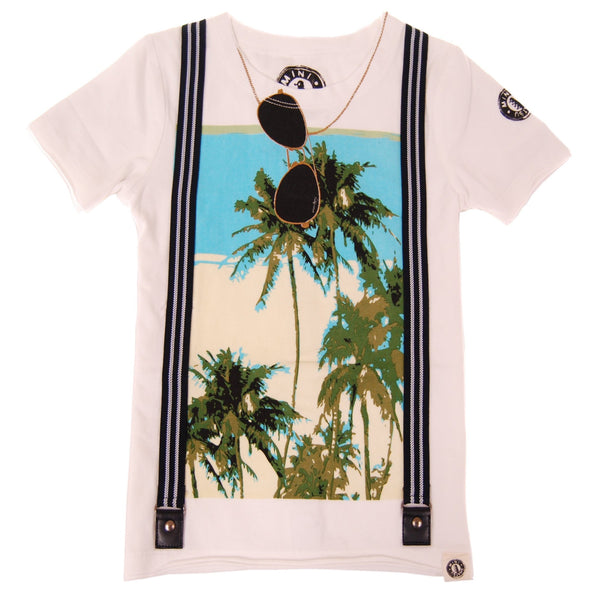 Palm Tree Suspenders T-Shirt by: Mini Shatsu