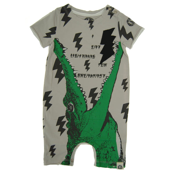 Gator Lightning for Breakfast Romper by: Mini Shatsu