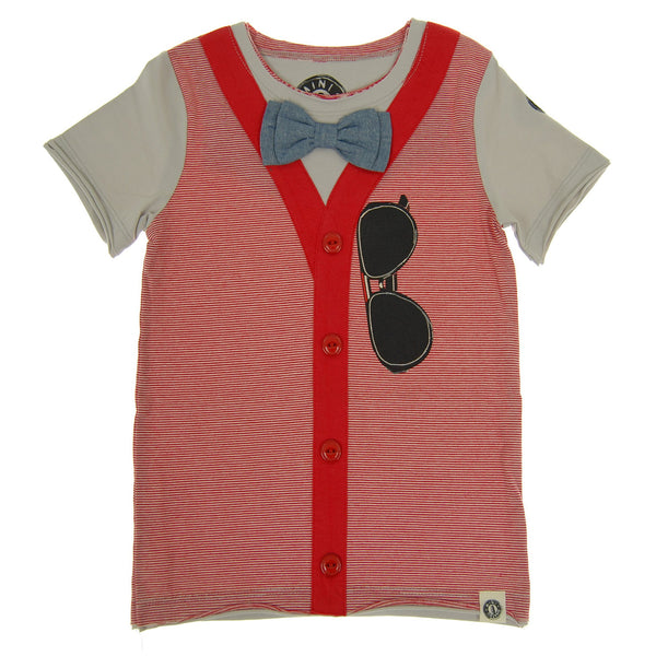 Bow Tie Cardigan Vest T-Shirt by: Mini Shatsu