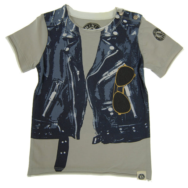 Midnight Blue Leather Vest Baby T-Shirt by: Mini Shatsu
