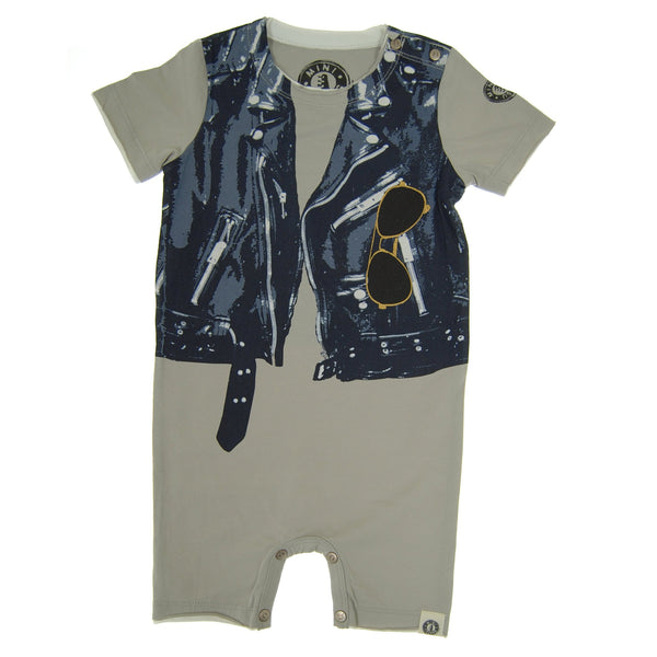 Midnight Blue Leather Vest Romper by: Mini Shatsu