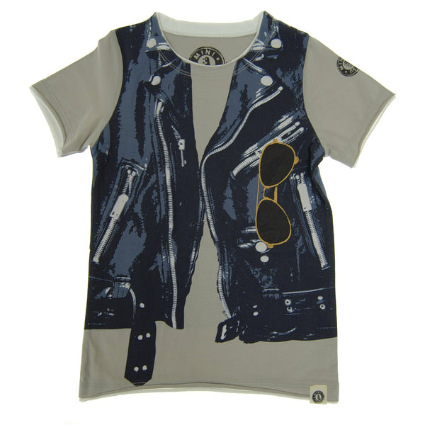 Midnight Blue Leather Vest T-Shirt by: Mini Shatsu