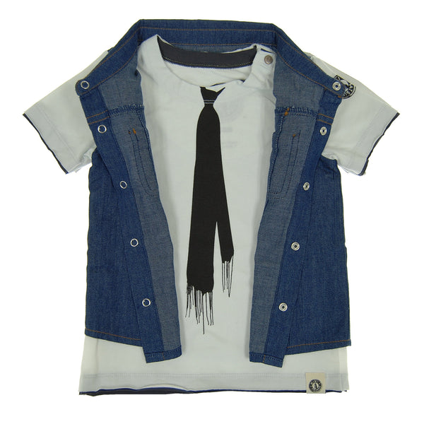 Real Denim Vest Baby T-Shirt by: Mini Shatsu