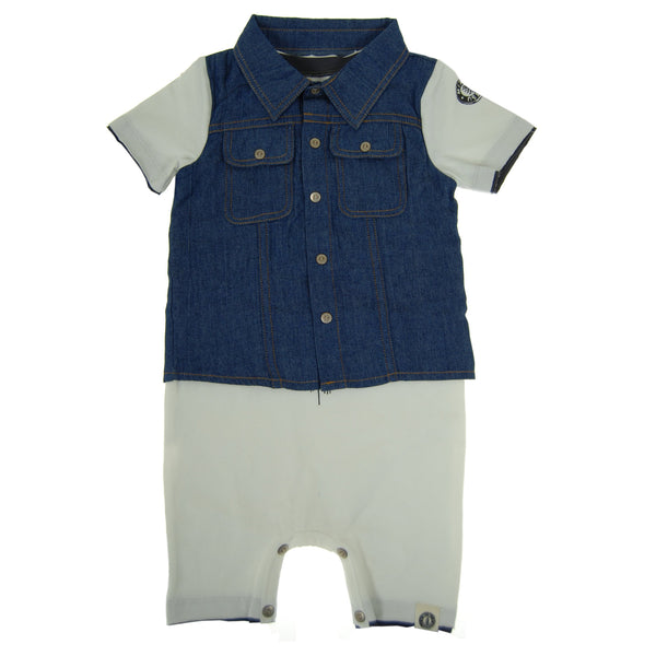 Real Denim Vest Romper by: Mini Shatsu