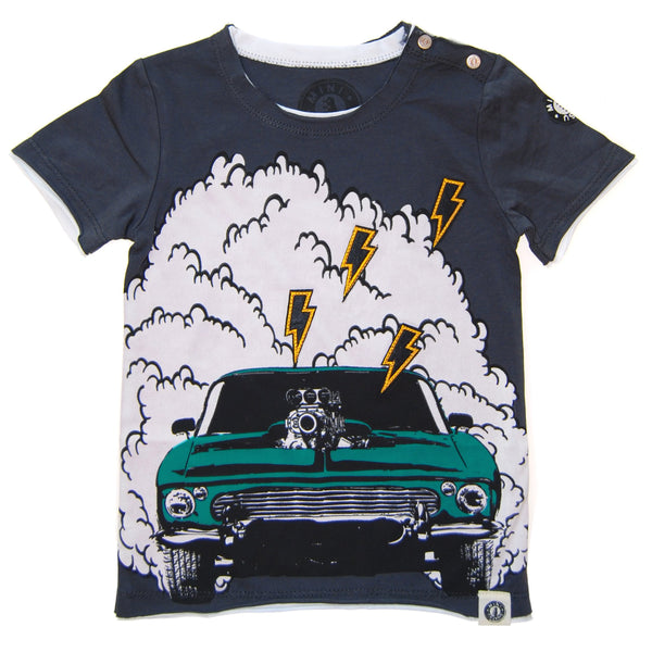 Muscle Car Burnout Baby T-Shirt by: Mini Shatsu