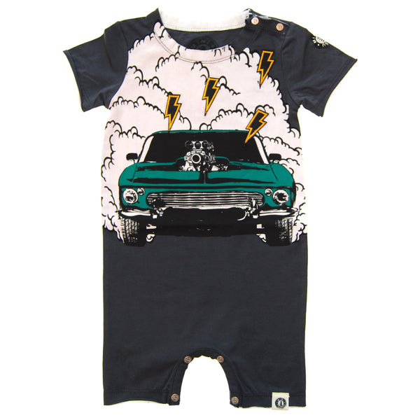 Muscle Car Burnout Romper by: Mini Shatsu