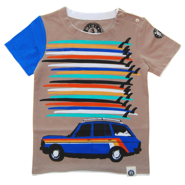 Surfboard Tower Station Wagon Baby T-Shirt by: Mini Shatsu