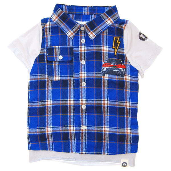 Grease Monkey Real Plaid Vest Baby T-Shirt by: Mini Shatsu