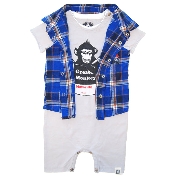 Grease Monkey Real Plaid Vest Romper by: Mini Shatsu
