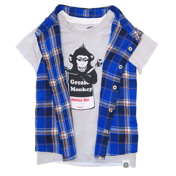 Grease Monkey Real Plaid Vest T-Shirt by: Mini Shatsu