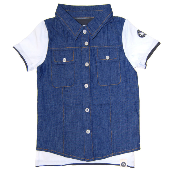 Real Denim Vest Scribble Tie T-Shirt by: Mini Shatsu