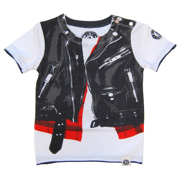 Wild Child Tiger Leather Plaid Vest Baby T-Shirt by: Mini Shatsu