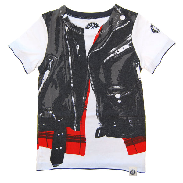 Wild Child Tiger Leather Plaid Vest T-Shirt by: Mini Shatsu