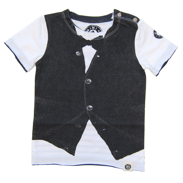 Black Bow Tie Cardigan Vest Baby T-Shirt by: Mini Shatsu