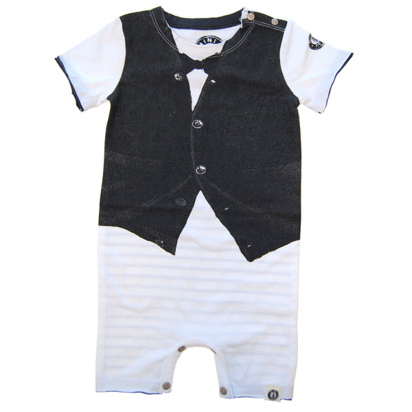 Black Bow Tie Cardigan Vest Romper by: Mini Shatsu
