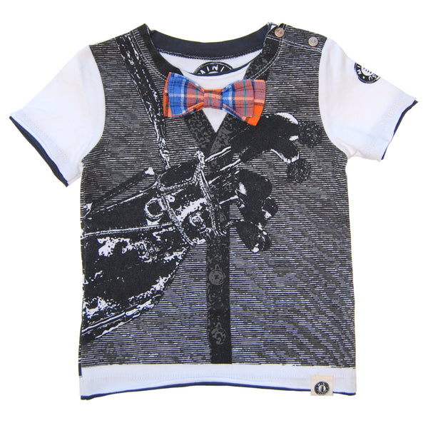 Bow Tie Golfer Vest Baby T-Shirt by: Mini Shatsu