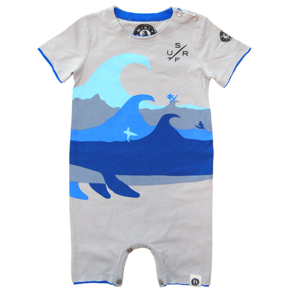 Shark Whale Surfer Romper by: Mini Shatsu