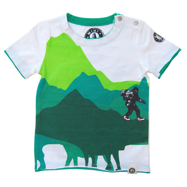 Dinosaur Mountain Big foot Sighting Baby T-Shirt by: Mini Shatsu