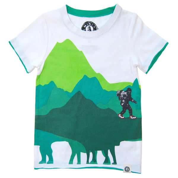 Dinosaur Mountain Big foot Sighting T-Shirt by: Mini Shatsu