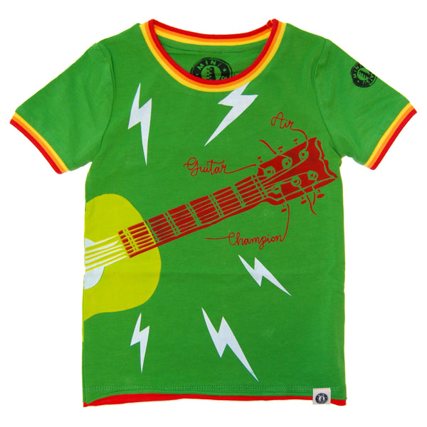 Air Guitar Champ Baby T-Shirt by: Mini Shatsu