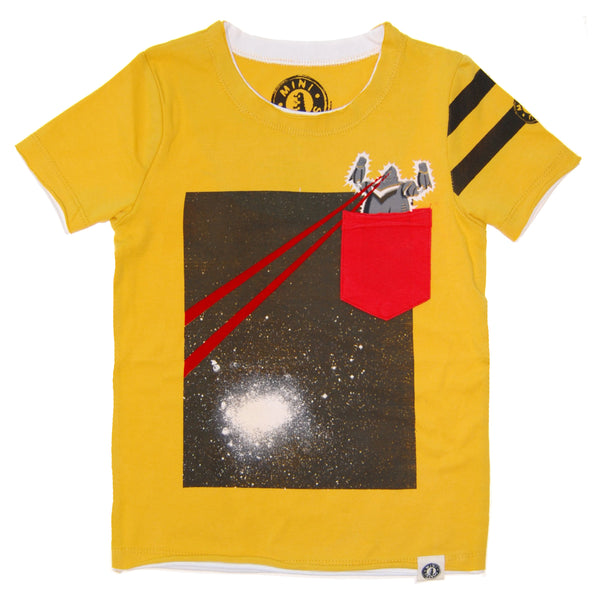 Pocket Robot Galaxy Baby T-Shirt by: Mini Shatsu