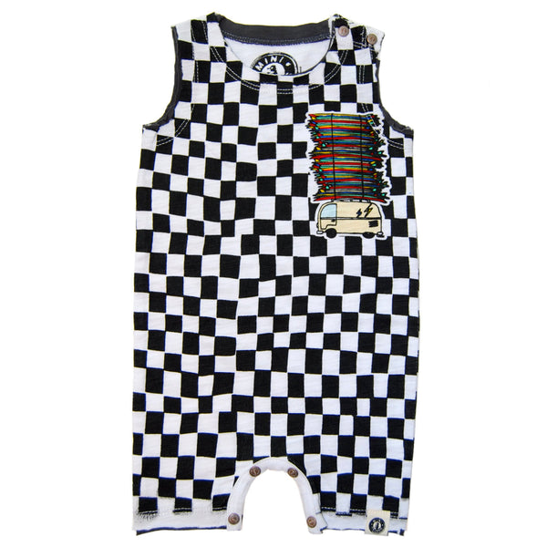 Surf Bus Checkered Romper by: Mini Shatsu