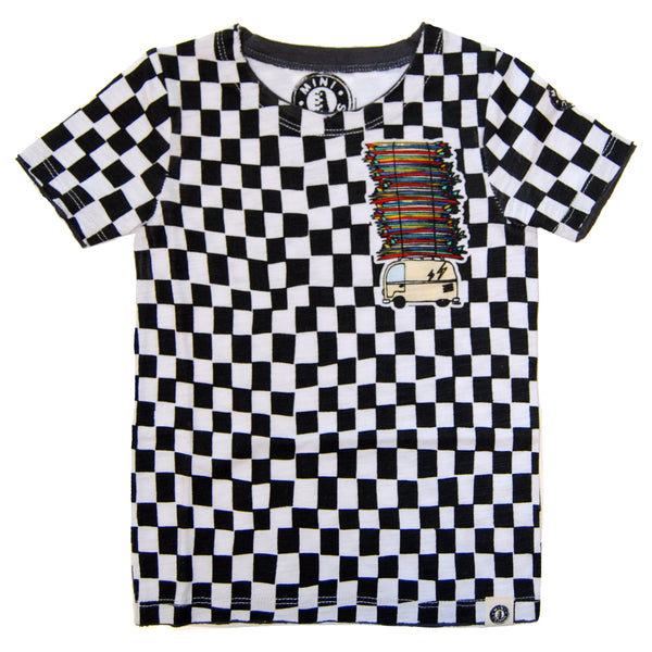 Surf Bus Checkered Baby T-Shirt by: Mini Shatsu