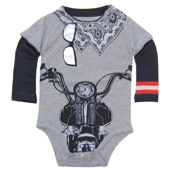 Biker White Bandana Long Sleeve Bodysuit by: Mini Shatsu