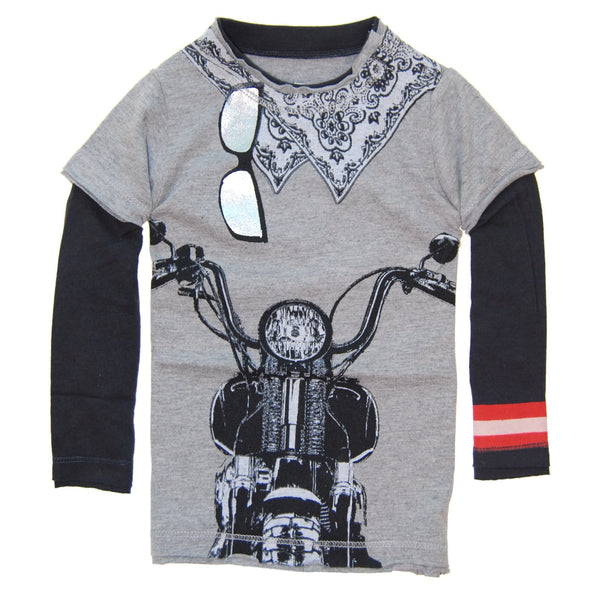 Biker White Bandana Twofer Shirt by: Mini Shatsu