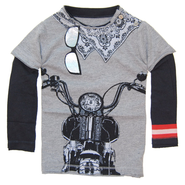Biker White Bandana Baby Twofer Shirt by: Mini Shatsu
