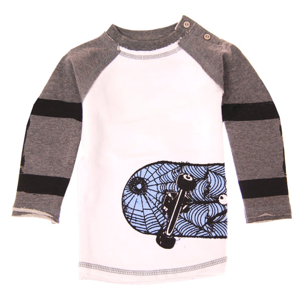 Skater Web Long Sleeve Baby Raglan Shirt by: Mini Shatsu