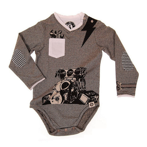 Muscle Car Bodysuit Long Sleeve by: Mini Shatsu