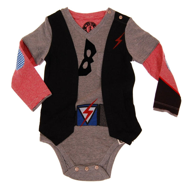 Superhero in Disguise Vest Bodysuit by: Mini Shatsu
