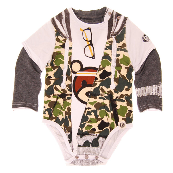 Camouflage Hooded Vest Bodysuit by: Mini Shatsu