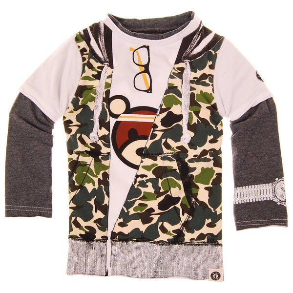 Camouflage Hooded Vest T-Shirt by: Mini Shatsu