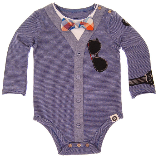 Bow Tie Cardigan Blue Bodysuit by: Mini Shatsu