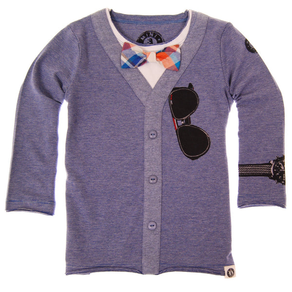 Bow Tie Cardigan Blue T-Shirt by: Mini Shatsu