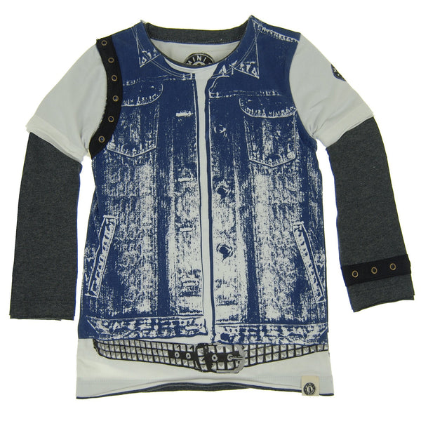 Denim Vest Rebel Twofer Shirt by: Mini Shatsu