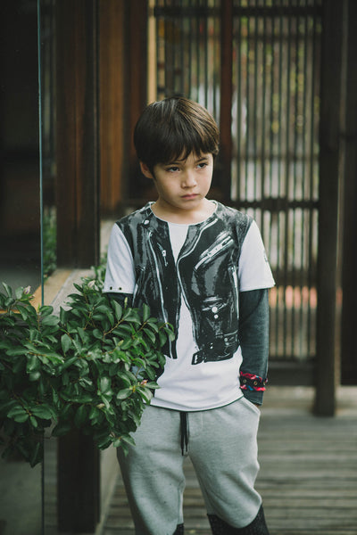 Leather Jacket Vest Baby Twofer Shirt by: Mini Shatsu