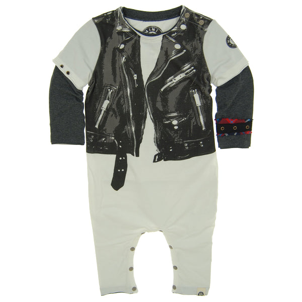 Leather Jacket Vest Baby Romper by: Mini Shatsu