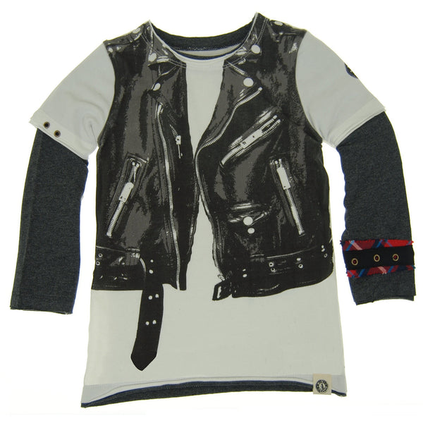 Leather Jacket Vest Twofer Shirt by: Mini Shatsu