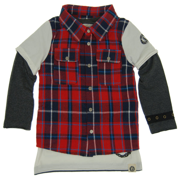 Red Plaid Vest Twofer Shirt by: Mini Shatsu